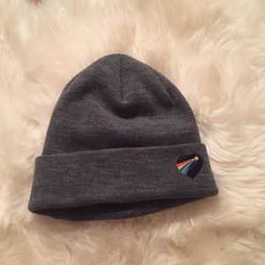 NWT Urban Outfitters Gray Rainbow Patch Beanie